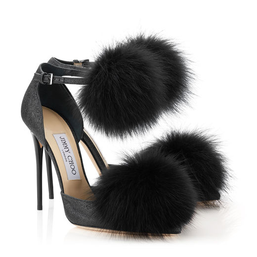 Jimmy Choo Dolly 110 Black Fine Glitter Pointy Toes with Fox Fur Pom Poms