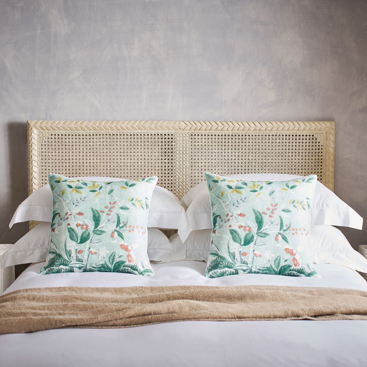 Linen Scatter Cushion Antique Chinese Inspired Floral Design