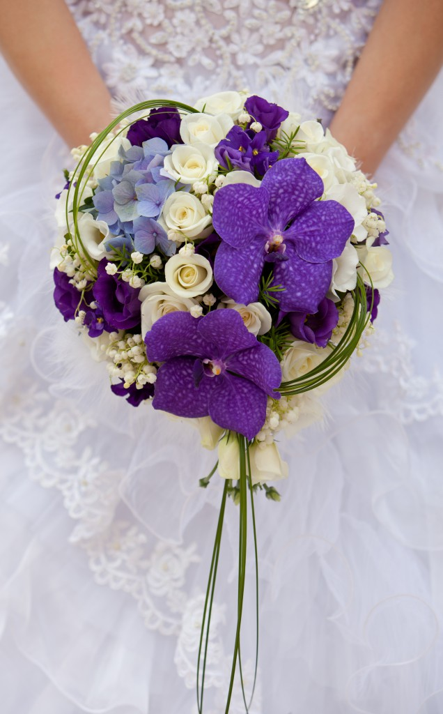 Hydrangea and Vanda Orchid Wedding Bouquet
