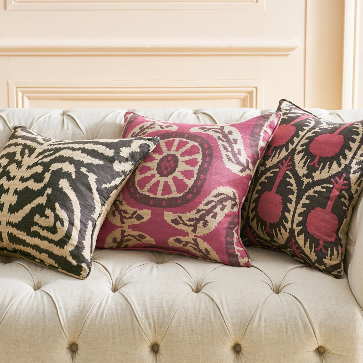 Scatter Cushion Pink Black Traditional Ikat Design