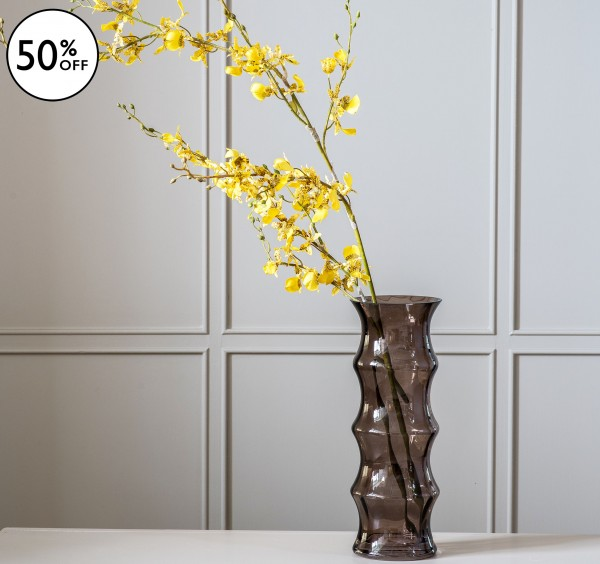 Tall Fluted Glass Vase
