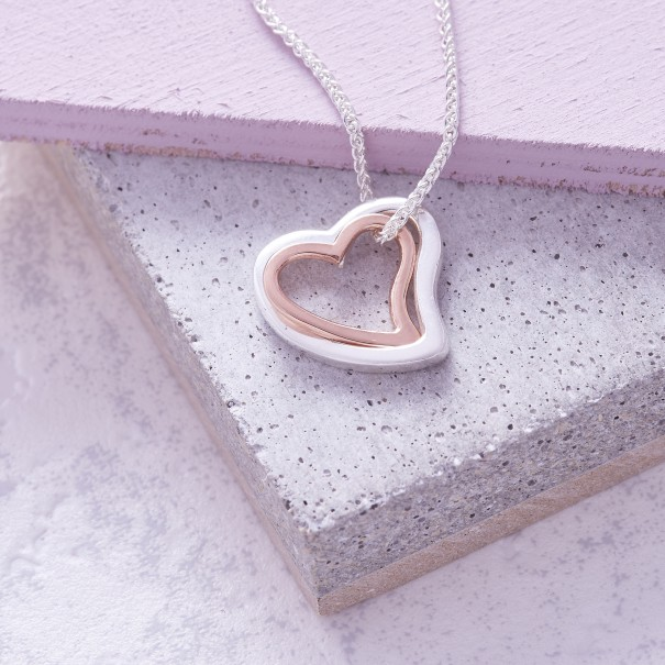 Silver Rose Gold Duo Simply Heart Necklace