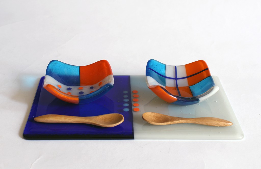 Serving Set Square Dishes on Base & Wooden Spoons Orange Turquoise Grey Fused Glass Cmglassdesigns