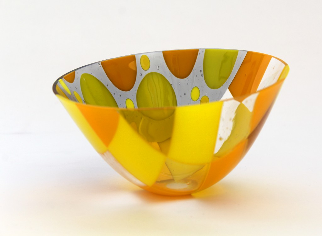 Drop Out Vessel Large Yellows Fused Glass