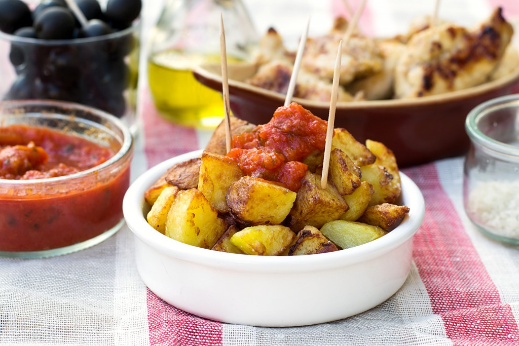 Spanish potatoes patatas bravas for tapas with tomato sauce