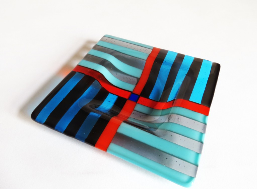 Dish Square Small Striped red Blue Turquoise Black Fused Glass Cmglassdesigns