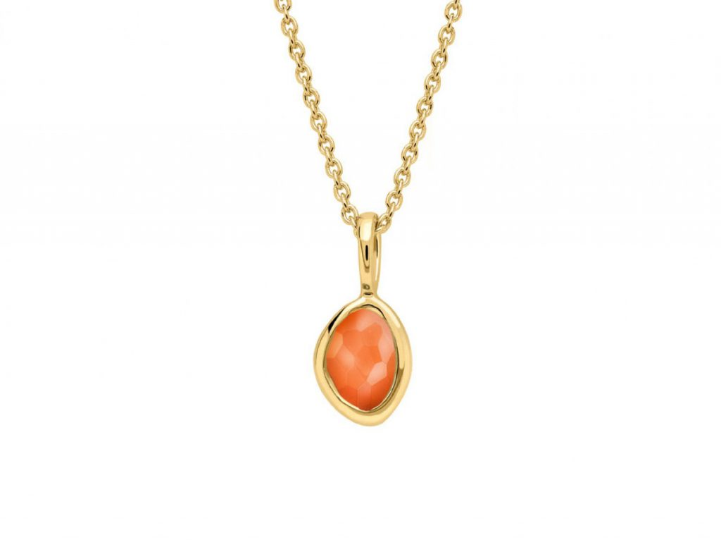 MISSOMA 18CT GOLD VERMEIL ORANGE CORNELIAN CHARM ON PLAIN CHAIN NECKLACE