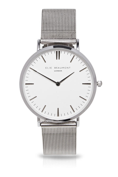 Elie Beaumont Oxford Large Mesh Silver Clear Dial