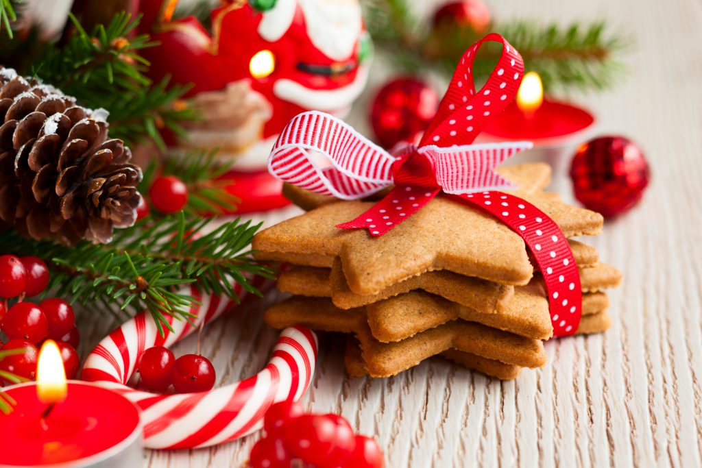 Christmas cookies party favours with festive decoration