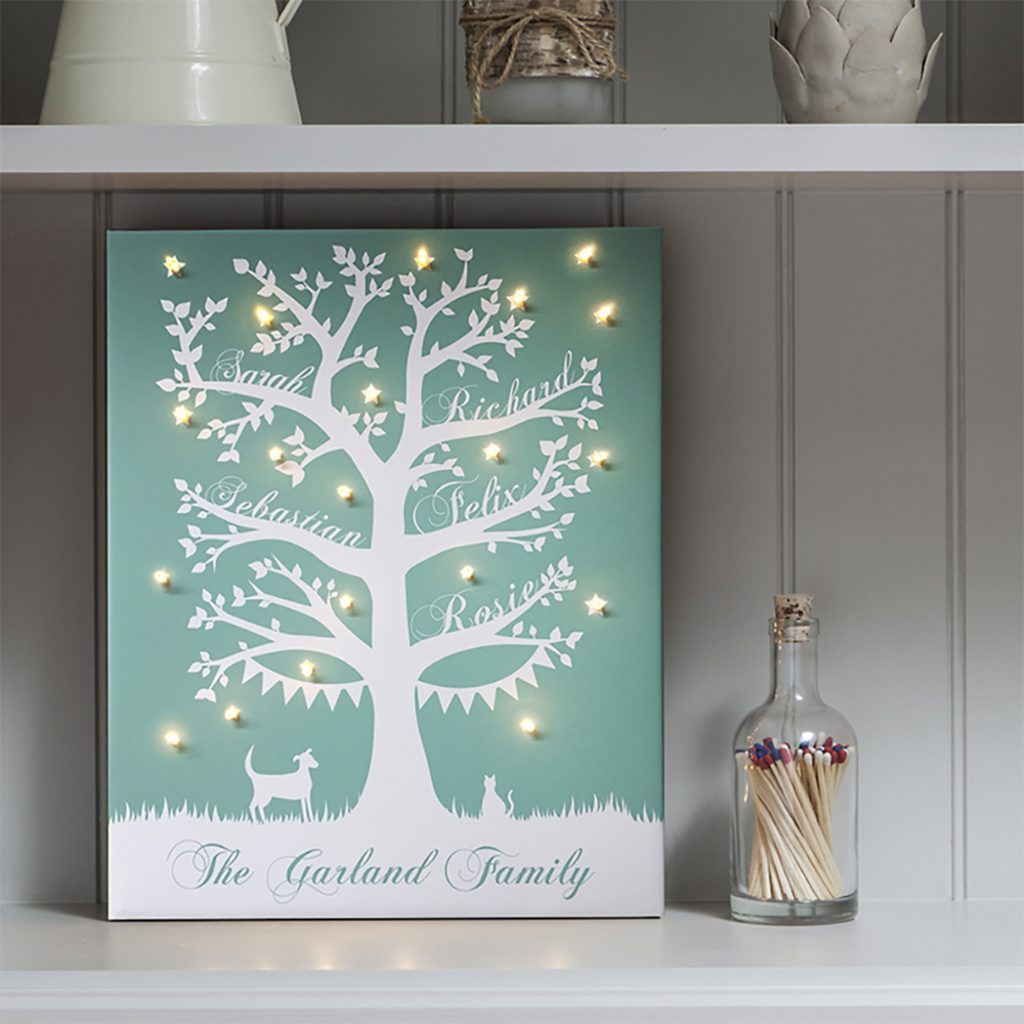 Family Tree Illuminated Personalised Names Canvas The Letteroom