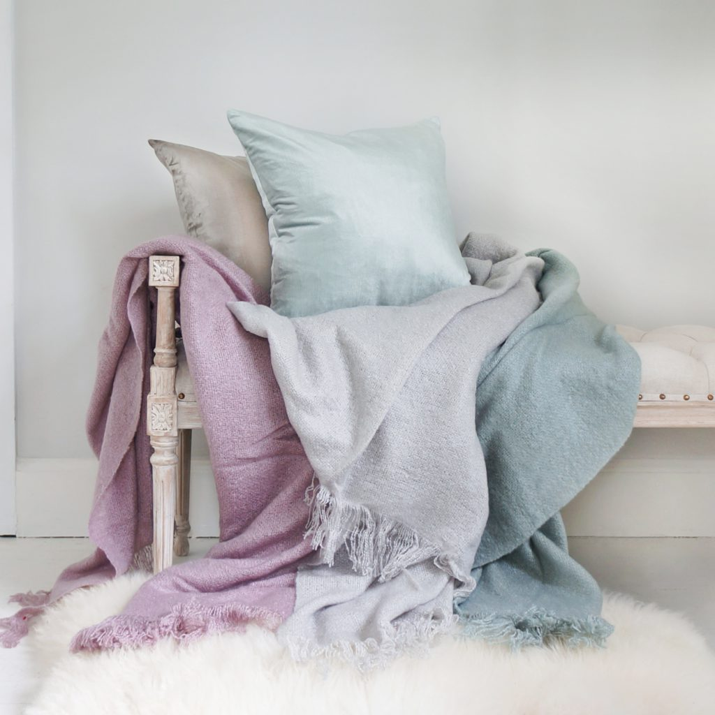 The French Bedroom Company Snuggle Buddy Throw Lilac Grey Duck Egg