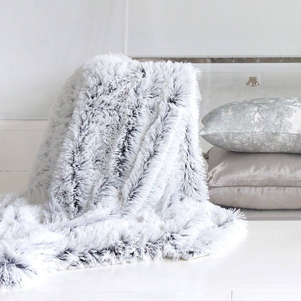 The French Bedroom Company Cottontail Grey Faux Fur Throw
