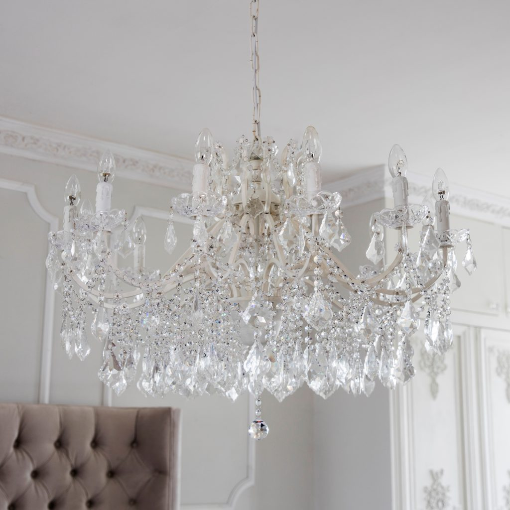 The French Bedroom Company Chambery White Glass Chandelier
