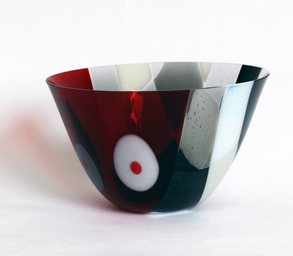Vessel Checked and Dotted Red Grey and White CM Glass Designs