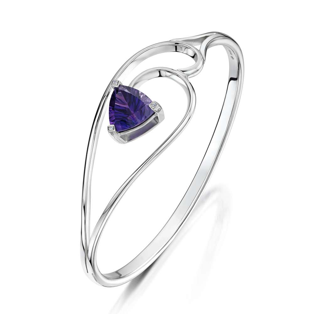 Amethyst Diamond and Silver Bangle