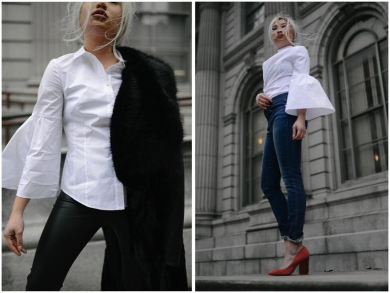 Bell Sleeve Shirt White Karen Millen