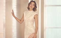 Karen Millen Wedding Guest Embroidered Pencil Dress Neutral
