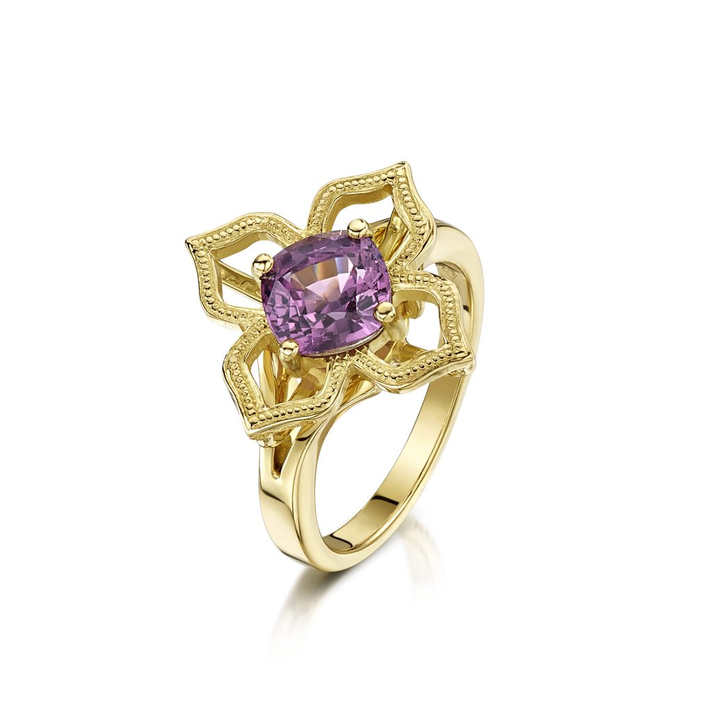 Flamingo Jewellery Pink Spinel 18ct Yellow Gold Ring