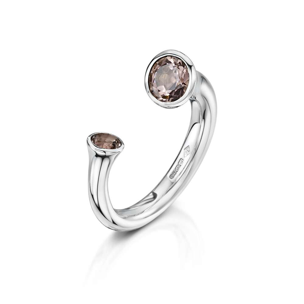 Flamingo Jewellery Pink Tourmaline and Silver Ring