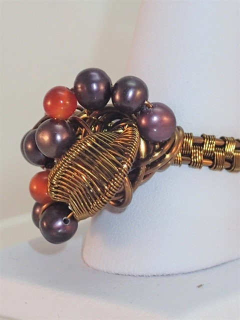 Purple Pearl and Carnelian Cluster Ring