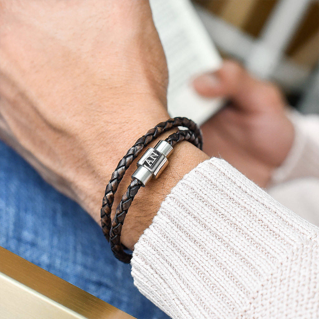 Men's Personalised Clasp Stainless Steel Double Leather Bracelet