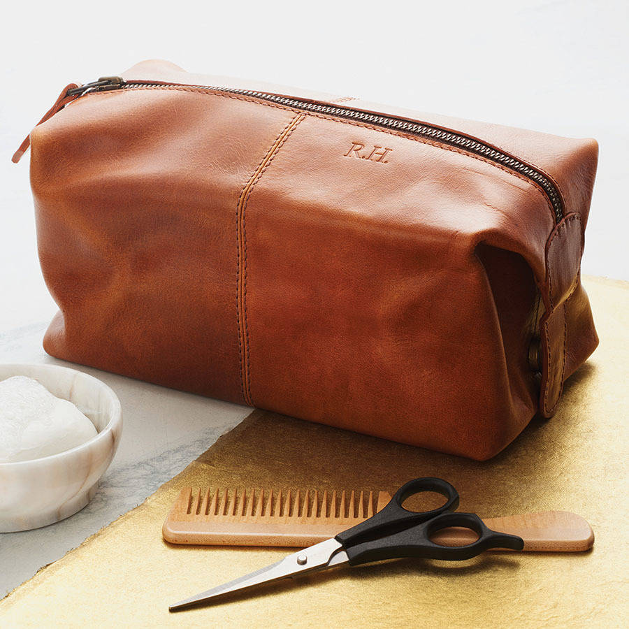 Personalised Mens Leather Wash Bag