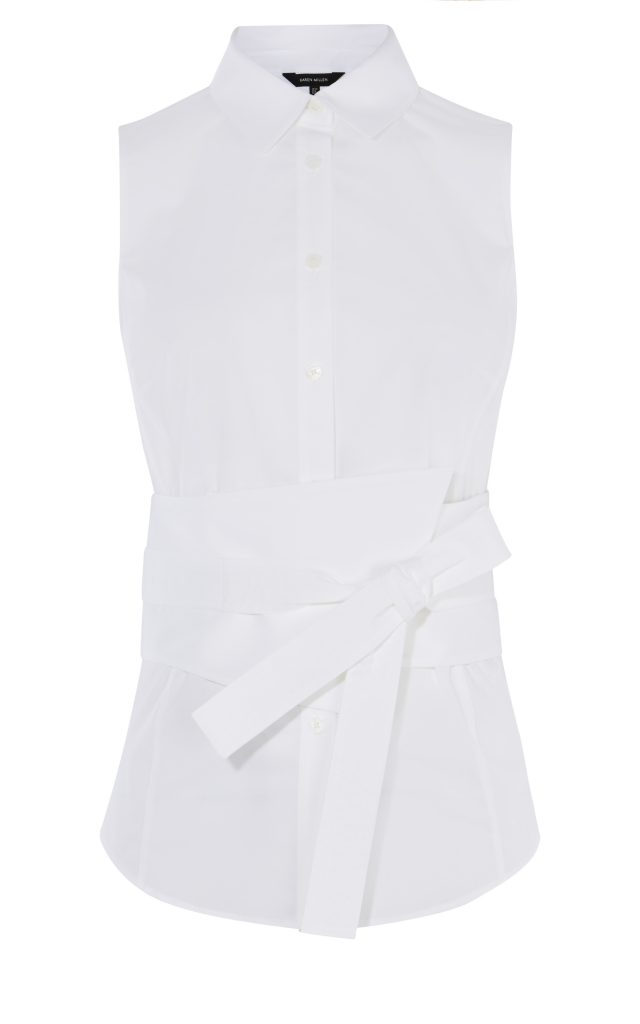 Karen Millen Deconstruct Sleeveless Collared White Shirt