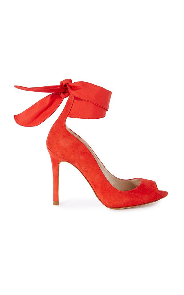 Karen Millen Red Suede Ankle-Wrap Heels Red