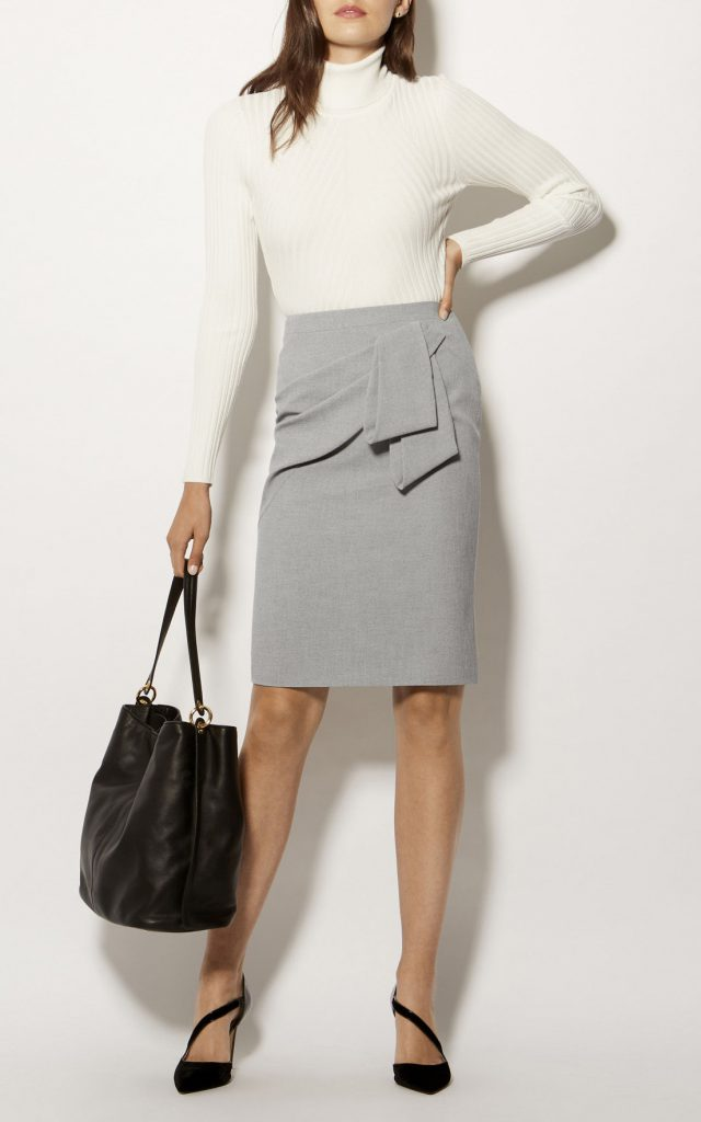 Karen Millen Folded Pencil Skirt Grey