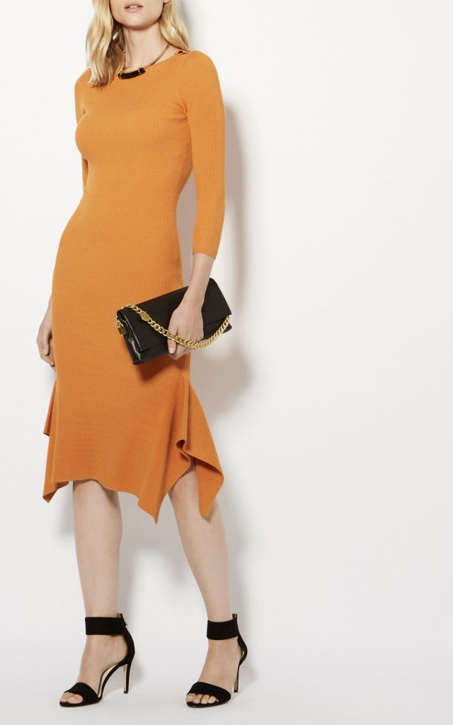 Karen Millen Frill Hem Knitted Midi Dress Orange