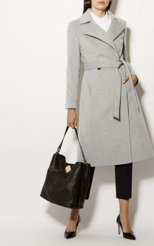 Karen Millen Long Fitted Wool Coat Grey