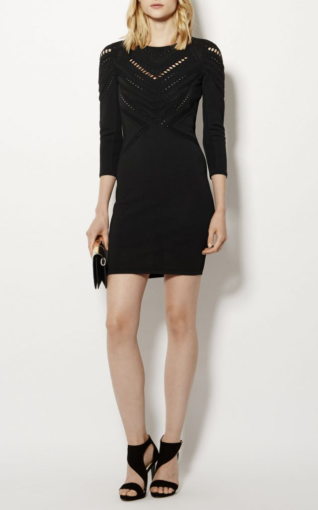 Karen Millen Open Knit Dress Black