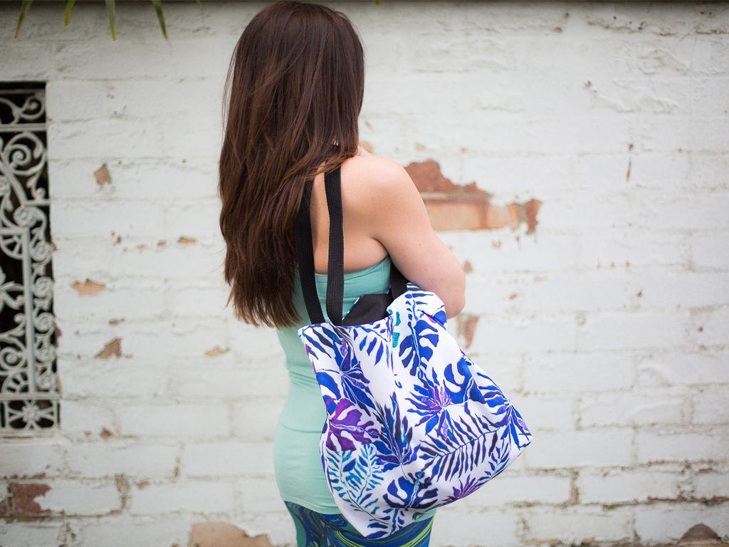 Paradise Print Tote Bag Purple Blue and Green K&N Ventures