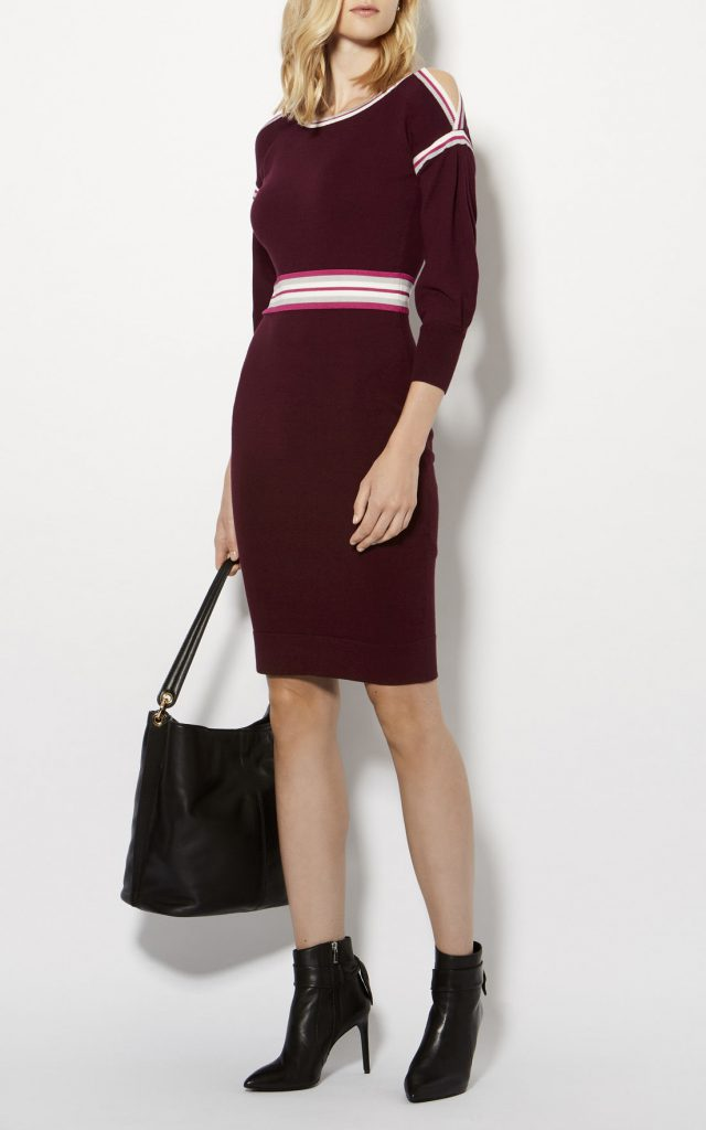 Sporty Stripe Knitted Dress Dark Red Karen Millen