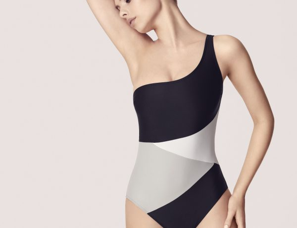 TRIPP Swim Carpanese One Shoulder Black White and Grey Swimsuit
