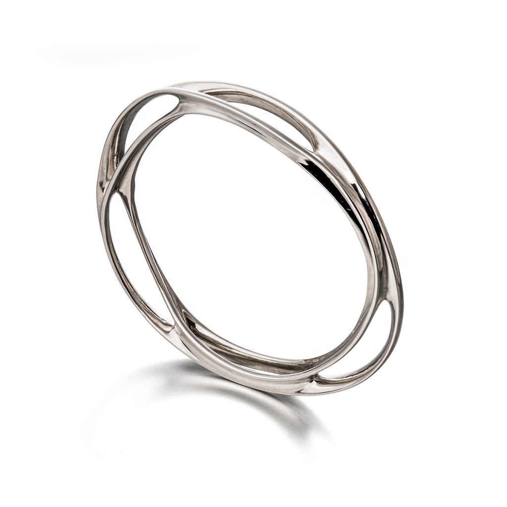 VerticesEdge Luxury Jewellery Curvaceous Twist n Flow Oval Silver Bracelet