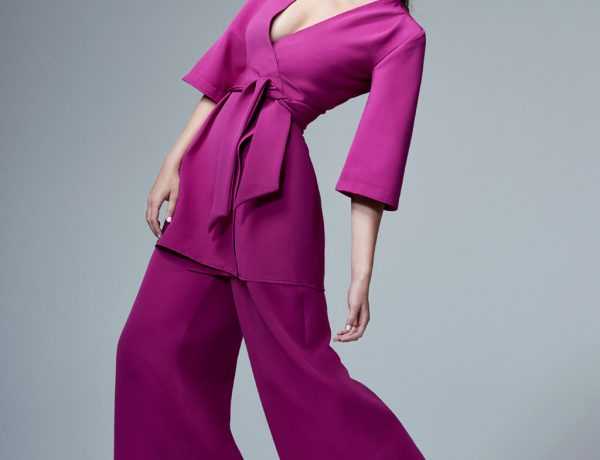 Sofia Wide Leg Trousers in Magenta CoCo VeVe The Label Collection