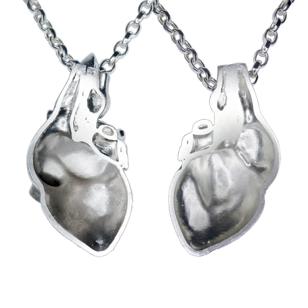 VerticesEdge Luxury Jewellery Silver Heart Pendant Feminine and Masculine