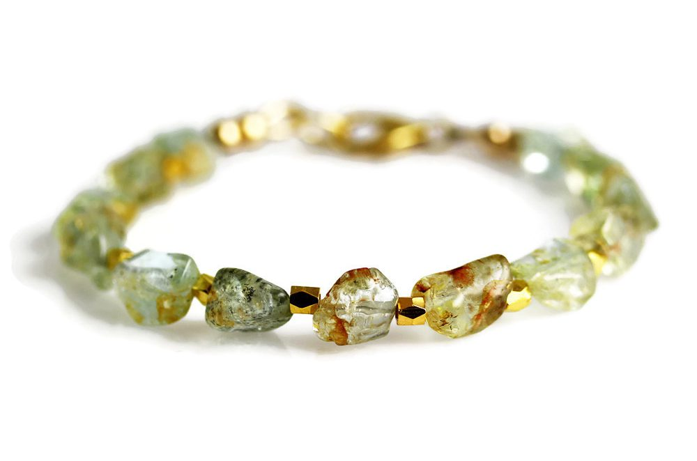 Aquamarine Nugget Bracelet in Gold Jill McCrystal