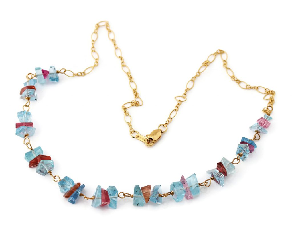Aquamarine and Pink Tourmaline Crystal Necklace in 18k Gold Jill McCrystal