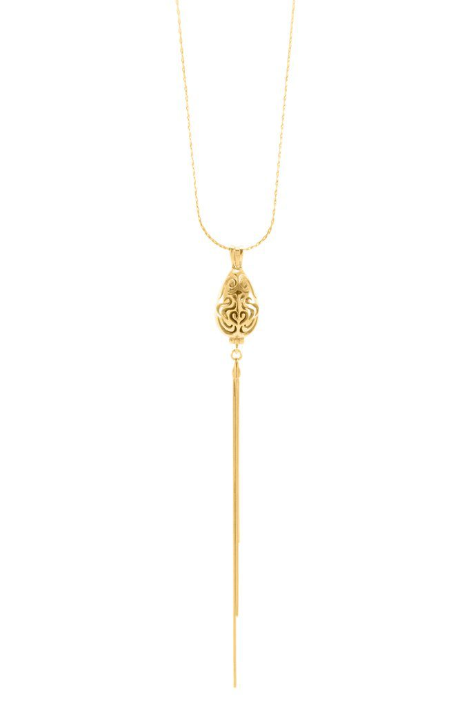 Aromatherapy Diffuser Locket 18kt Gold Vermeil Lariat Style Necklace