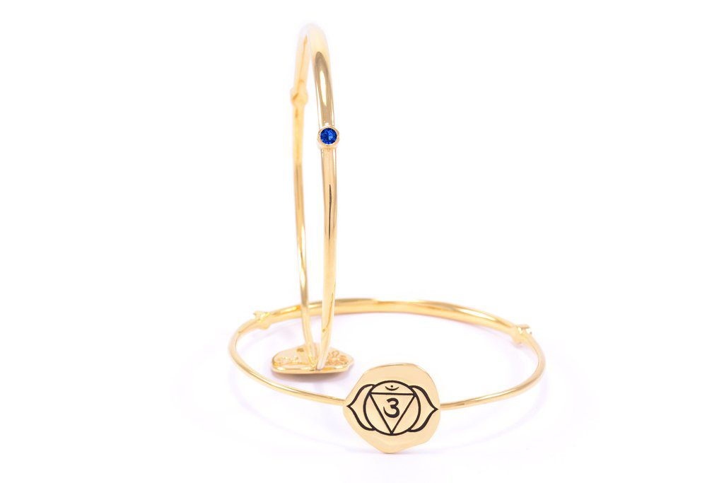 Brown Chakra Ajna Bangle Iolite 18k Gold Finish Seven Saints