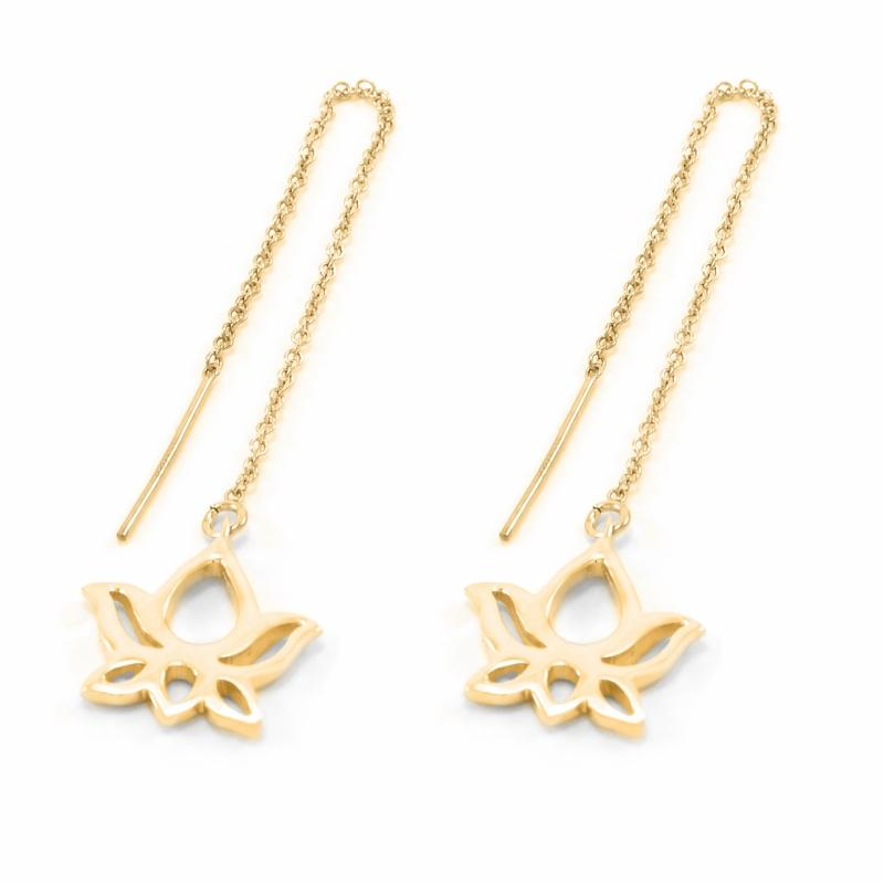 Lotus Threader Drop Earrings 18k Gold Vermeil Seven Saints Jewellery