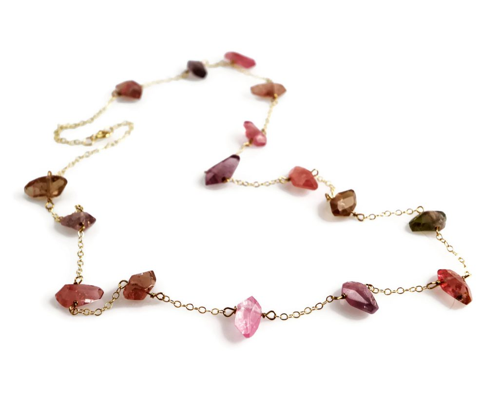 Pink Tourmaline Nuggest Necklace in 14k Gold Jill McCrystal