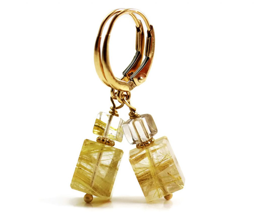 Rutilated Quartz Earrings 14k Gold Jill McCrystal