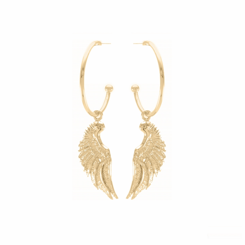 Angel Wing Hoop Earrings 18k Gold Vermeil Seven Saints Jewellery