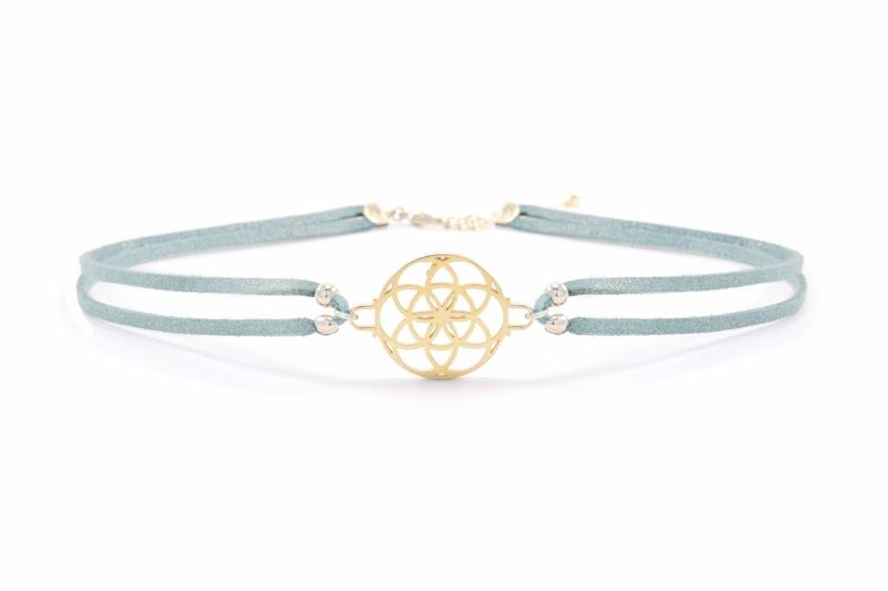 Seed of Life Vegan Suede Choker 18k Gold Vermeil Aqua Seven Saints Jewellery