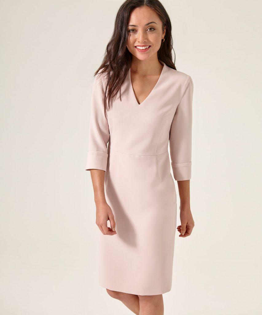 Beiwen Blush Dress Petite The Work Wardrobe London