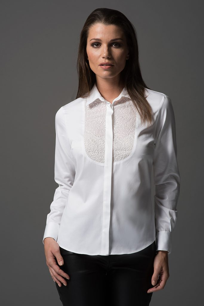 Bethany White Embroidered Ladies Long Sleeve White Shirt The Work Wardrobe