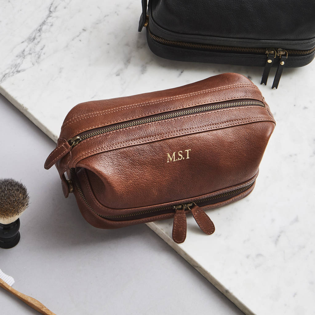 Leather Wash Bag Zip Bottom by Vida Vida Notonthehighstreet